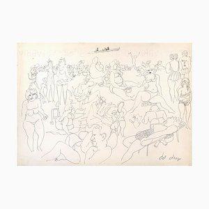 At the Beach - Original Federzeichnung von Francesco del Drago, spätes 20. Jahrhundert