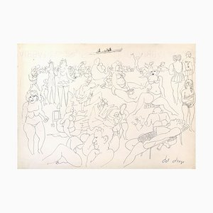 At the Beach - Original Pen Drawing by Francesco del Drago Late 20th Century