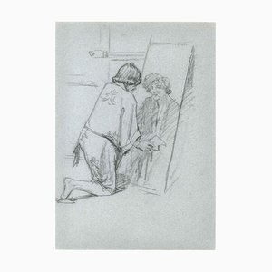 Figure in the Mirror - Pencil Drawing Mid 20th Century Mid 20th century