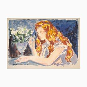 Mujer - siglo XX - Louis Berthomme - Litografía moderna Mid-Century, siglo XX