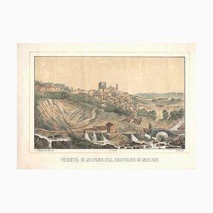 View of Sepino - Original Lithograph by F- Cirelli - Mid 19th Century Mid 19th Century