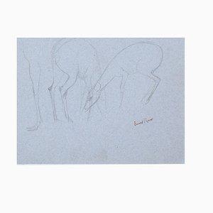 Fawns - Original Bleistiftzeichnung von Ernest Rouart - 1890er 1890er