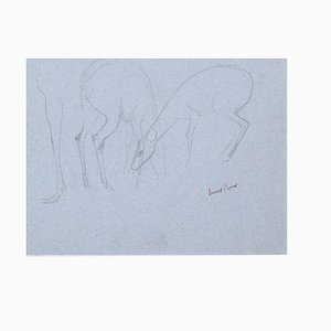 Fawns - Original Pencil Drawing by Ernest Rouart - 1890s 1890s