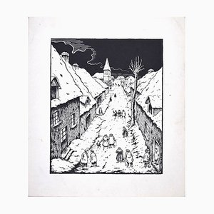 Nocturnal Village - Original Siebdruck von Lucie Navier 1930er