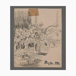 Dessin Sketch of a Still Life - Charbon Initial par J. Dreyfus-Stern Début 20ème Siècle