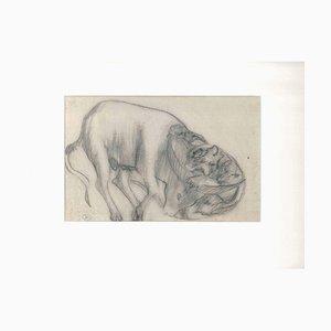The Feline and the Ox - Dessin au Crayon par Ernest Rouart - Début 1900 1900