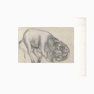 The Feline and the Ox - Original Pencil Drawing by Ernest Rouart - Early 1900 1900