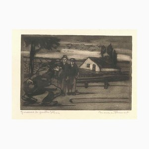 Joueurs de Boules - Original Etching by M. Flament - Early 1900 Early 20th Century