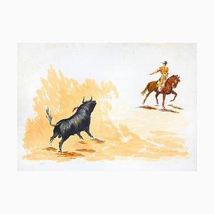 Stier und Stierkämpfer - Original Lithographie von José Guevara - 1990er 1990er