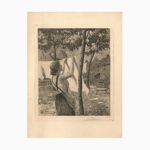 Woman Hanging Laudry - Original Etching by L. Desbuissons - 1904 1904