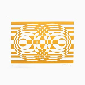Two Yellows and Orange Compositions - Original ScreenPrints by V. Debach - 1970s 1970s