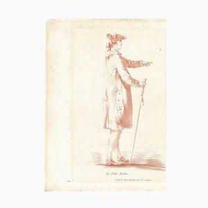 Le Petit Maitre - Original Etching and Pastel by L-M Bonnet - Late 18th Century Late 1700