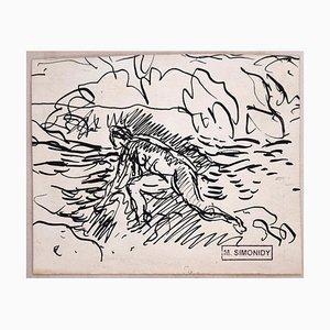 Bather Sketch - Original Tuschezeichnung von Michel Simonidy - 1910er 1910er
