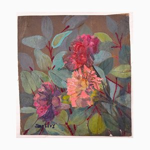 Flowers - Original Oil Painting by Jane Levy - Mid 1900 Late 1900