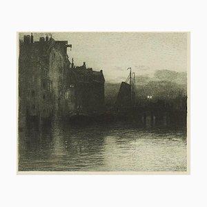 Gravure à l'Eau-Forte Dordrecht Original par Hans Herrmann - 1904/5 1904/5