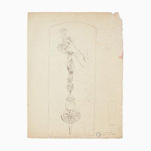 Chain - China Tuschezeichnung von C. Moulin - Mid 20th Century Mid 20th Century