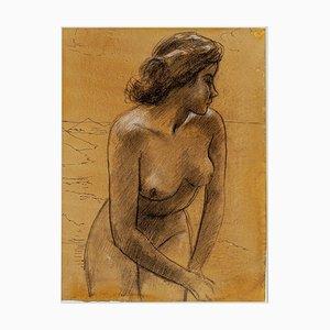 Nackte Frau - Bleistift und Pastell Zeichnung - Frühes 20. Jahrhundert Frühes 20. Jahrhundert