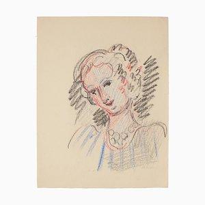 Portrait de Femme - Dessin Pastel - Milieu 20ème Siècle 20ème Siècle