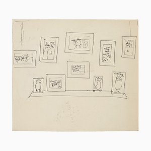 Ausstellung - Original Pen Drawing - Mid 20th Century 1950s