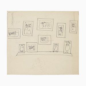 Exhibition - Original Pen Drawing - Mid 20th Century 1950s