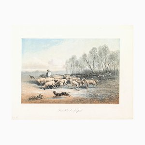 A Shepherd with his Sheeps - Original Lithograph - Late 19th Century Late 19th Century