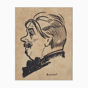 Portrait - China Ink on Paper by Willem Van Hasselt - Mid 20th Century Mid 20th Century