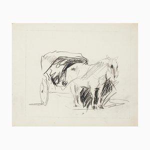 Caballo - Dibujo de tinta china - Mid-Century, años 50