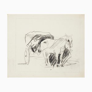 Horse - China Ink Drawing - Mid 20th Century 1950s