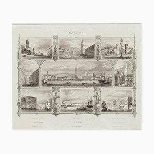 Landschaft aus Venedig, 19. Jh. - Originale Lithographie, spätes 19. Jh., Spätes 19. Jh