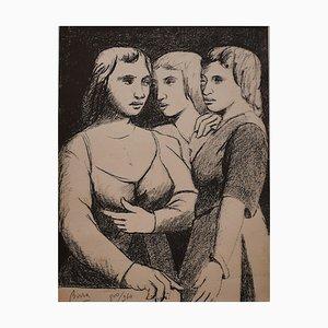 Three Twins - Original Lithograph by P. Borra - 1950s 1950s