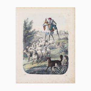 Stelzenlaufen Hirten - Original Lithographie - 1860 1860