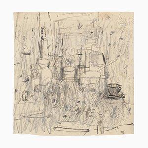 Intérieur - Stylo Dessin sur Papier - Milieu 20ème Siècle, 20ème Siècle