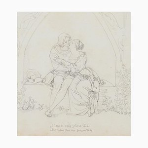 Embrace - Pencil Drawing on Paper - Late 19th Century Late 19th Century
