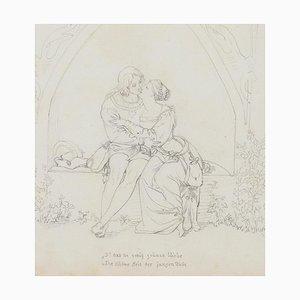 Umarmung - Bleistiftzeichnung auf Papier - spätes 19. Jahrhundert spätes 19. Jahrhundert