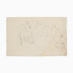Figuren - Bleistiftzeichnung von Jean Béraud - Frühes 20. Jahrhundert Frühes 20. Jahrhundert