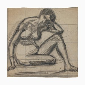 Posing Model - Pencil Drawing on Paper - Mid 20th Century Mid 20th century