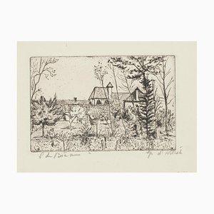 Landscape - Original Etching by Solange de Bièvre - 1971 1971