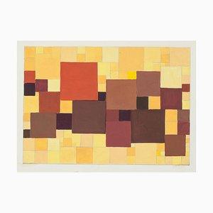 Composition Abstraite - Tempera Original par A. Matheos Milieu 20ème Siècle