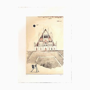 Cathedral of Brandenburg - Original Lithograph by Ossi Czinner - 1970s 1970s