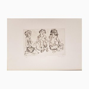 Three Girls Waiting - Original Etching 1873 1973