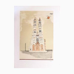Cathedral of Dignes - Original Lithographie von Ossi Czinner - 1970s 1970s