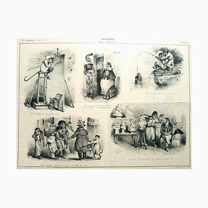Singeries - Original Lithographie von JJ Grandville - 1832 1832