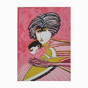 Motherhood - Original Screen Print from Remo Brindisi - 1980s 1980s