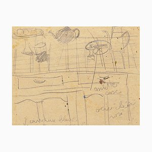 Still Life - Original Pencil Drawing by French Master mid 20th Century Mid 20th Century