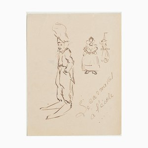 The Caricature - Original China Ink Drawing - 1950s 1950s