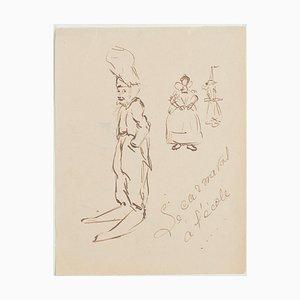 The Caricature - Original China Tuschezeichnung - 1950er 1950er