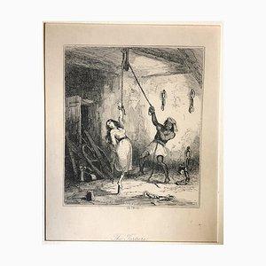 The Torture - Original Radierung von PHIZ - Mid 19th Century Mid 19th Century