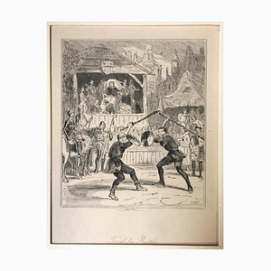 Trial by Battle - Original Etching by PHIZ - Mid 19th Century Mid 19th Century