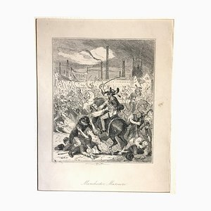 Manchester Massacre - Original Etching by PHIZ - Mid 19th Century Mid 19th Century