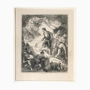 Discovery of Captain Grant and hi - Original Etching by PHIZ - Mid 19th Century Mid 19th Century